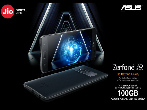 Reliance Jio offers 100GB free 4G data for Asus ZenFone AR users
