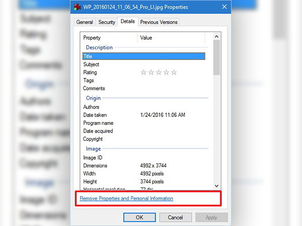 Remove personal info from photos in Windows 10