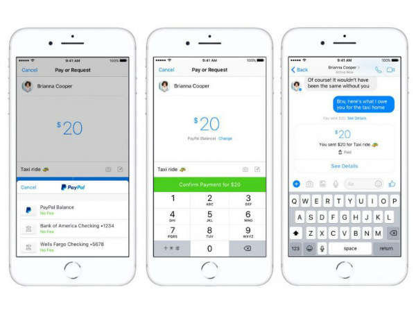 Facebook Messenger lets you send or receive money via PayPal