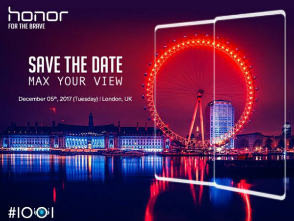 Honor to launch a bezel-less smartphone on December 5