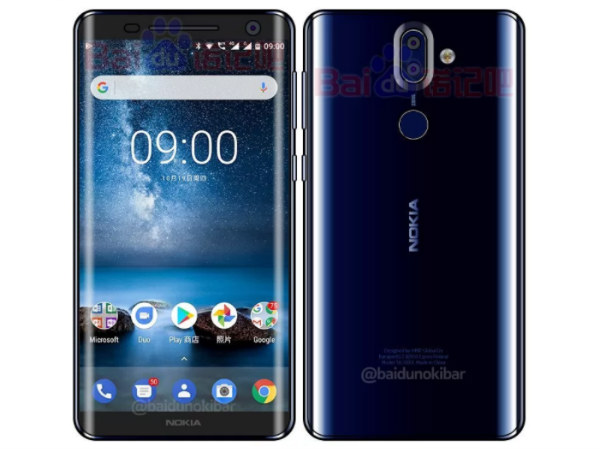Nokia 9 in Polished Blue color shown off by sketched image