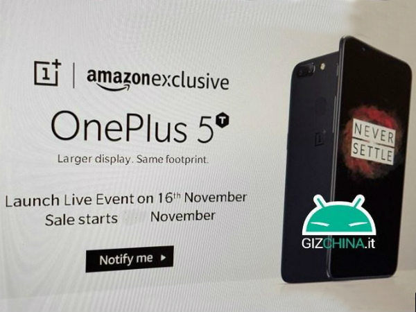 Is OnePlus 5T launching on November 16 as an Amazon Exclusive?