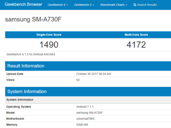 Samsung Galaxy A7 (2018) with 6GB RAM, new chipset listed on Geekbench