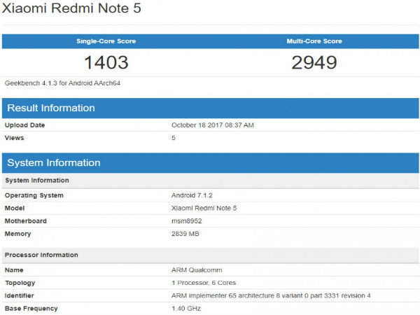 Xiaomi Redmi Note 5 with Snapdragon 617 spotted on Geekbench
