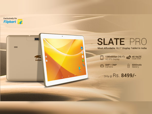Swipe Slate Pro tablet with 5,000mAh battery launched at Rs. 8,499