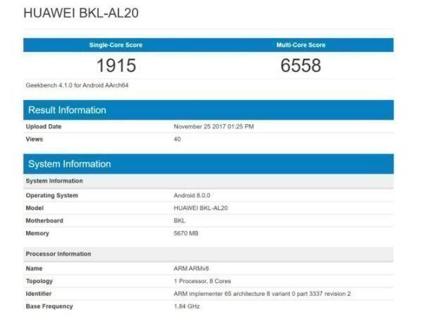 Honor V10 visits Geekbench confirming its specs