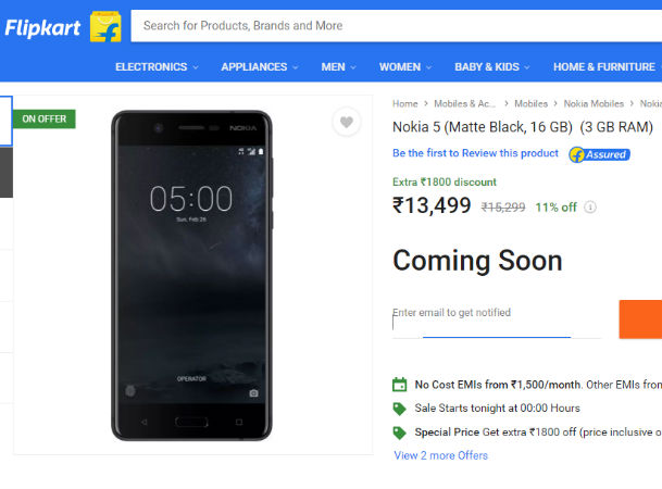 Nokia 5 with 3GB RAM in India for Rs 13499