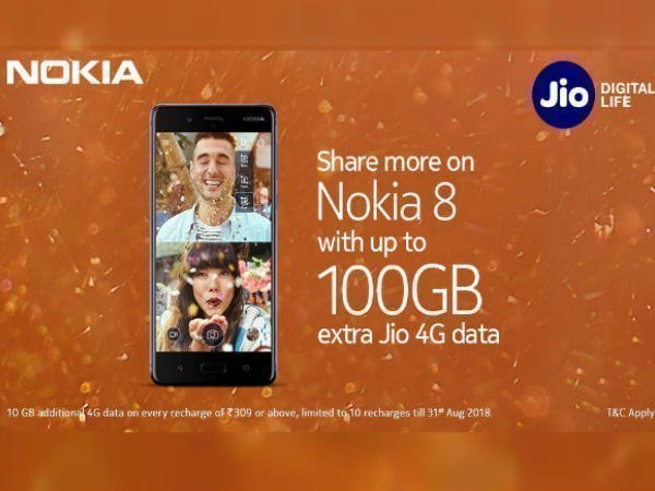 Reliance Jio to offer data benefits on purchase of Nokia 8 & 5 phones