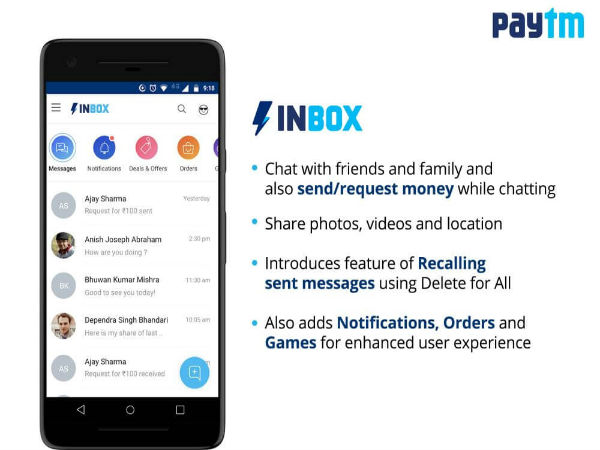 Paytm Inbox feature lets users chat and send or receive money