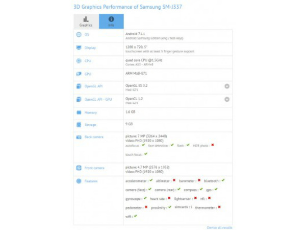 Samsung Galaxy J3 (2018) key specs revealed by GFXBench listing