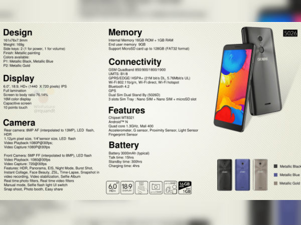 Alcatel 3C entire specs sheet along with pricing leaked