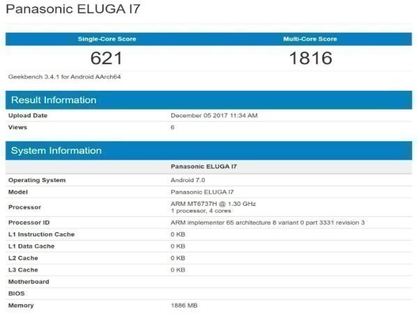 Panasonic Eluga I7 with 2GB RAM visits Geekbench