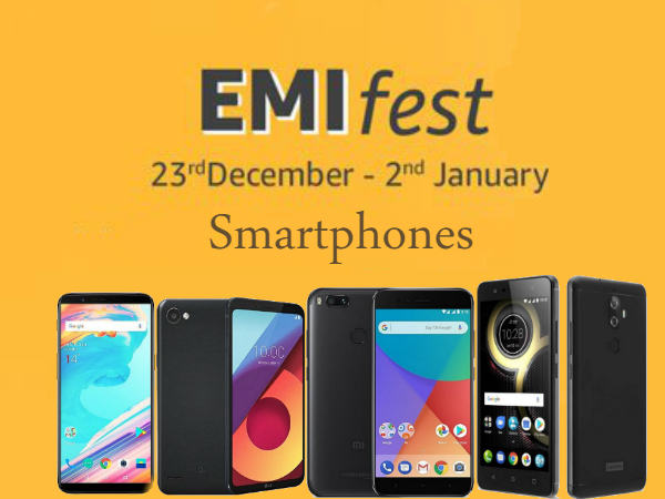 Top EMI offers on best smartphones during New Year 2018