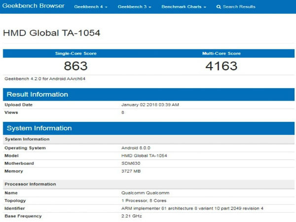 Nokia 6 Appears On Geekbench