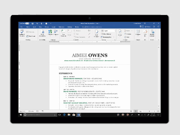 Microsoft Resume Assistant now available for Office 365 subscribers