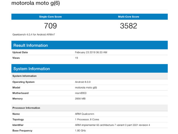 Moto G6 spotted on Geekbench with Snapdragon 625 and Android Oreo