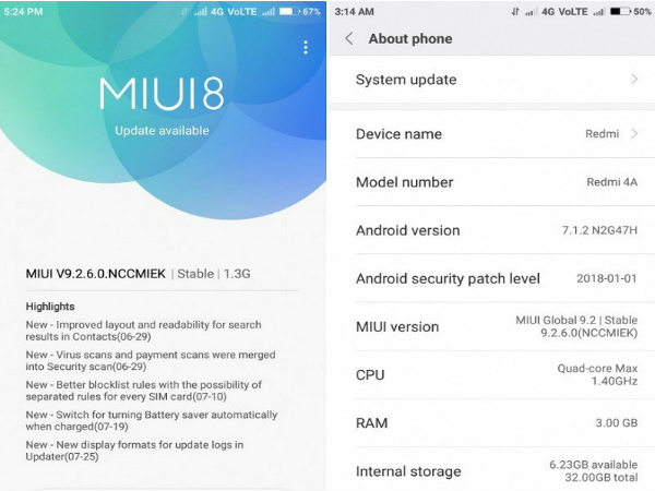 Xiaomi Redmi 4A starts receiving MIUI 9 based on Android 7.1.2 Nougat