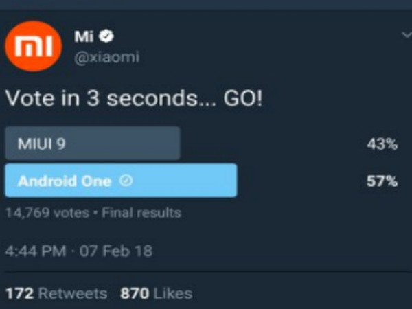 Xiaomi deletes Twitter poll as users prefer Android One to MIUI 9