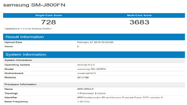 Alleged Samsung Galaxy J8 spotted on Geekbench listing