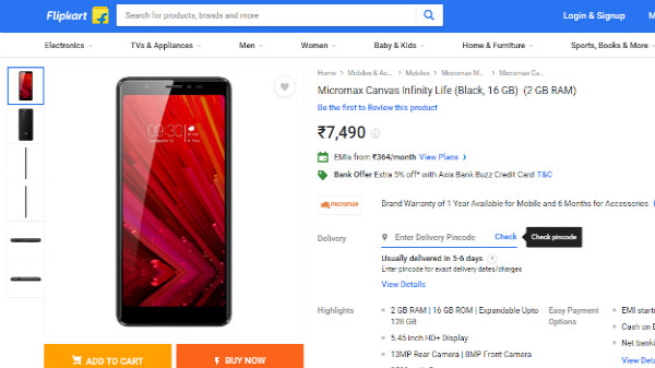 Micromax Canvas Infinity Life listed on Flipkart for Rs. 7,490