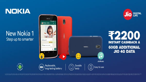 Reliance Jio offers an instant cashback worth Rs 2,200 on Nokia 1