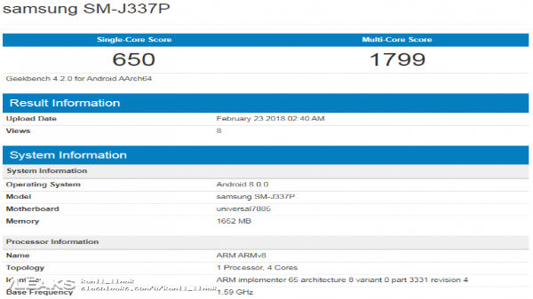 Samsung Galaxy J3 (2018) and J3 Pro stop by Geekbench