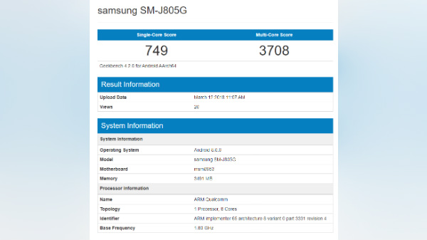 Samsung Galaxy J8 Plus with Snapdragon 625 SoC visits Geekbench