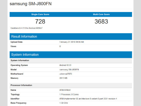 Samsung Galaxy J8 spotted on Geekbench ahead of its official launch