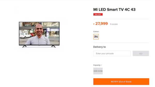 Xiaomi Mi TV 4C 43-inch to be priced at Rs. 27,999