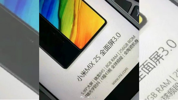 Xiaomi Mi Mix 2S leaked photo reveals key specs