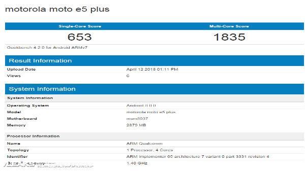 Moto E5 Plus Geekbench listing reveals key specs