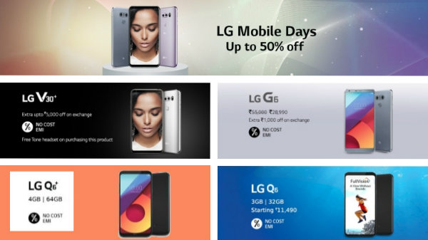 Offers on LG smartphones: Upto 50% off on LG V30 Plus, LG G6 and more