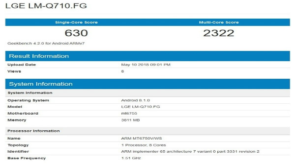 LG Q7 with MediaTek Helio P10 SoC and 4GB RAM visits Geekbench