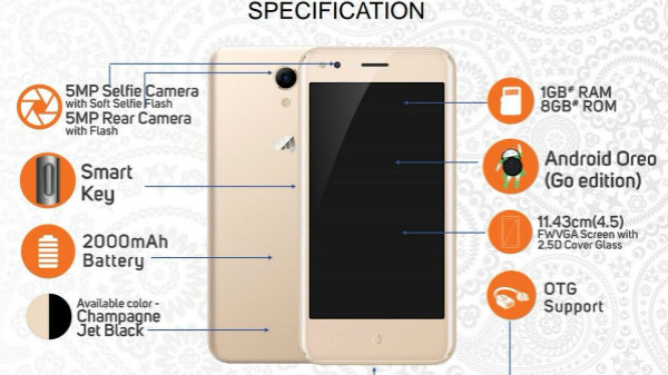 Micromax Bharat Go key specs leak; to run Android Oreo (Go Edition)