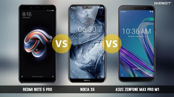 Nokia X6 Vs Xiaomi Redmi Note 5 Pro Vs Asus ZenFoneMax Pro M1