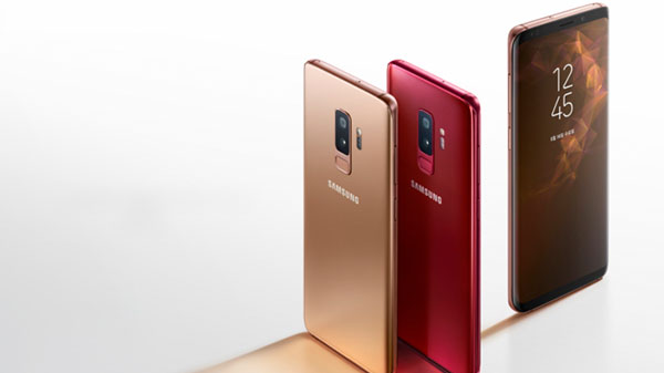 Samsung Galaxy S9 and  S9+ in Sunrise Gold and Burgundy Red color