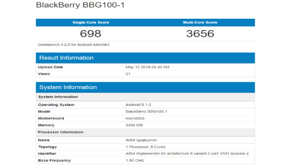 BlackBerry BBG100-1 appears on Geekbench, could be BlackBerry Ghost