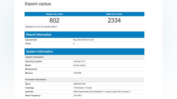 Xiaomi 'Cactus' appears on Geekbench; could be a 5X variant