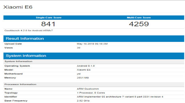 Xiaomi E6 with Snapdragon 625 SoC and 3GB RAM visits Geekbench