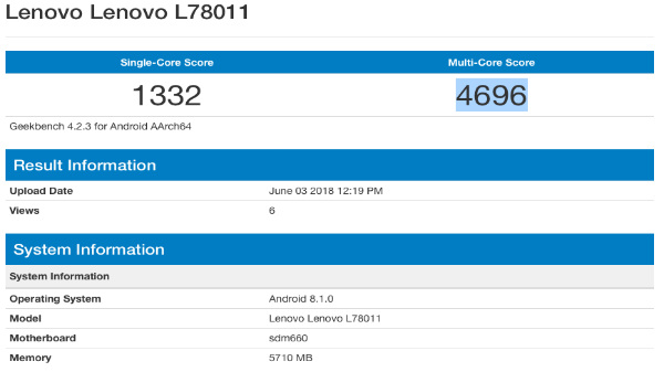 Lenovo L78011 running on the Snapdragon 660 SoC  spotted on Geekbench