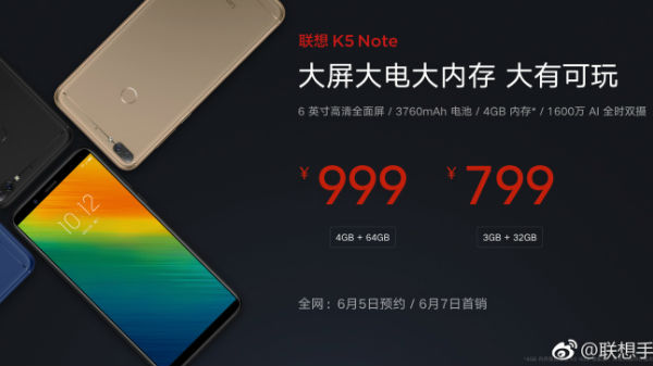 Lenovo K5 Note officially launched to take on the Xiaomi Redmi 5