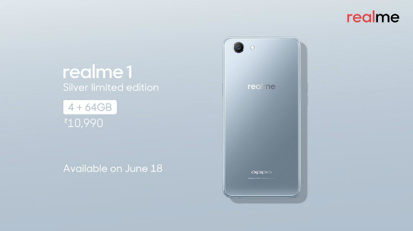 Realme 1 Moonlight Silver 4GB RAM first sale today on Amazon