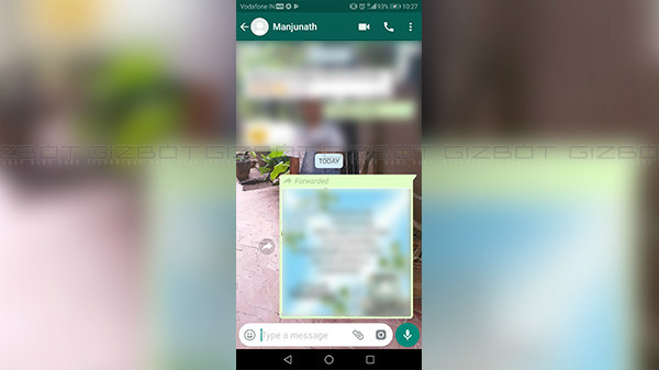 WhatsApp displays 'Forwarded' message label