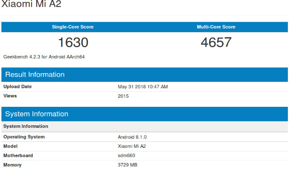 Xiaomi Mi A2 running on the Snapdragon 660 SoC spotted on Geekbench