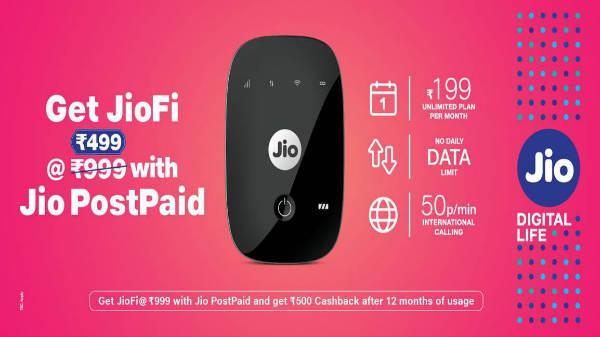Reliance Jio offers Rs. 500 cashback on JioFi