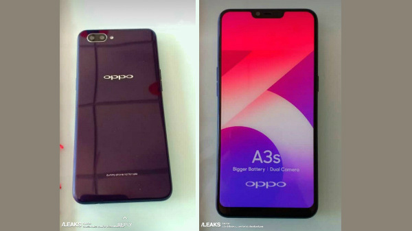 Oppo A3s prototype leaks showing notch display and dual rear cameras