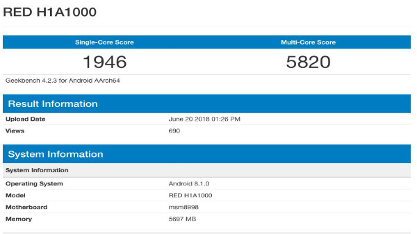 Red hydrogen smartphone scores a whopping 5820 points on Geekbench