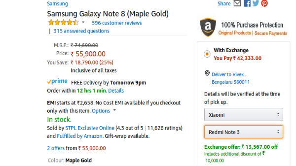 Samsung Galaxy Note8 is available for Rs 38,333 on Amazon Prime Day
