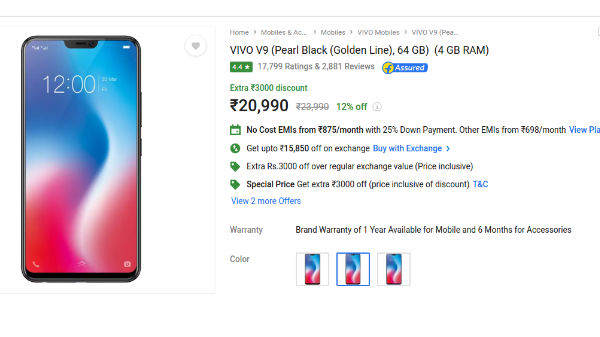 Flipkart Big Shopping Day Sale: Now grab Vivo V9 for as low as Rs 7750