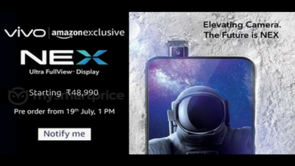 Vivo NEX will launch on the 19th of July with a price tag of Rs 48,990